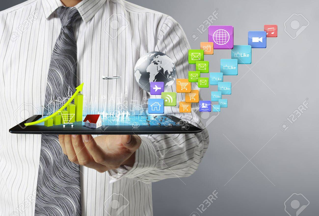touch screen ,touch- tablet in hands Stock Photo - 17960046