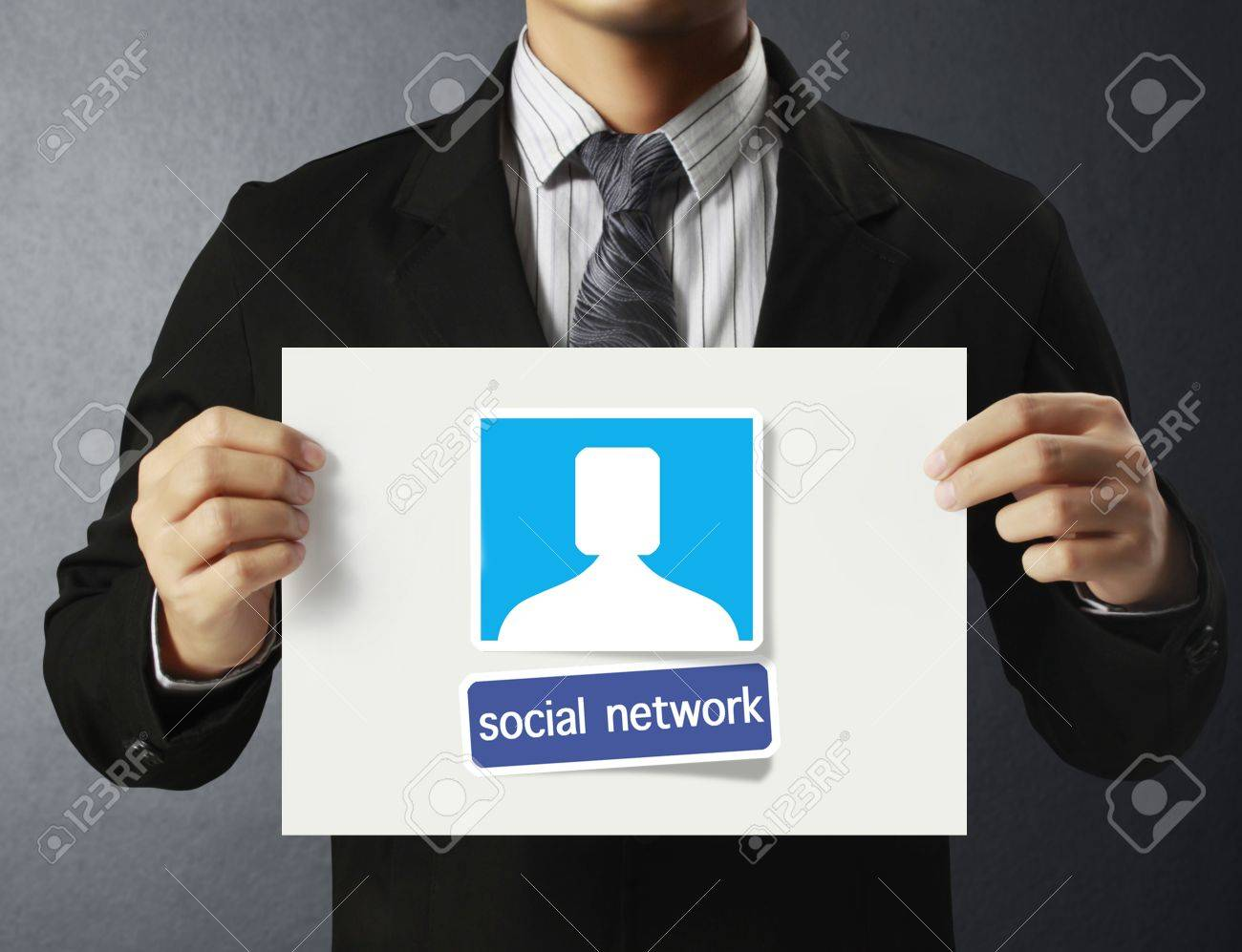 business man handing social network business card over stock photo business man handing social network business card over stock photo 18537600
