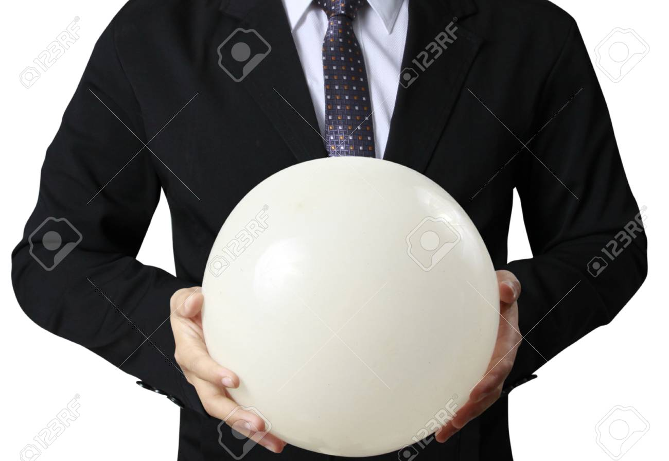 Businessman hand holding the Crystal Ball Stock Photo - 24083586