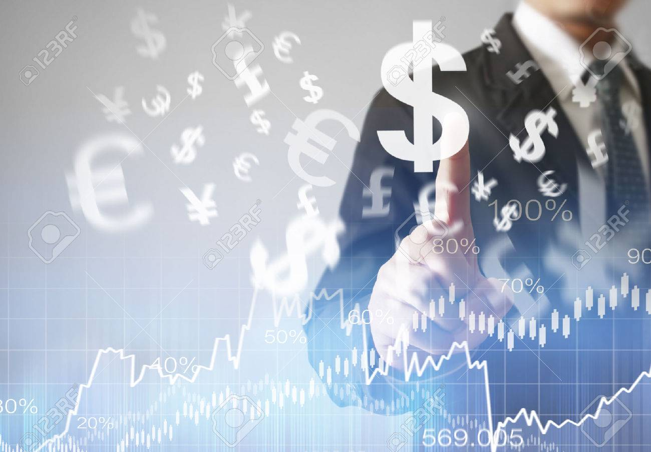 businessman with financial symbols coming from hand - 51269491