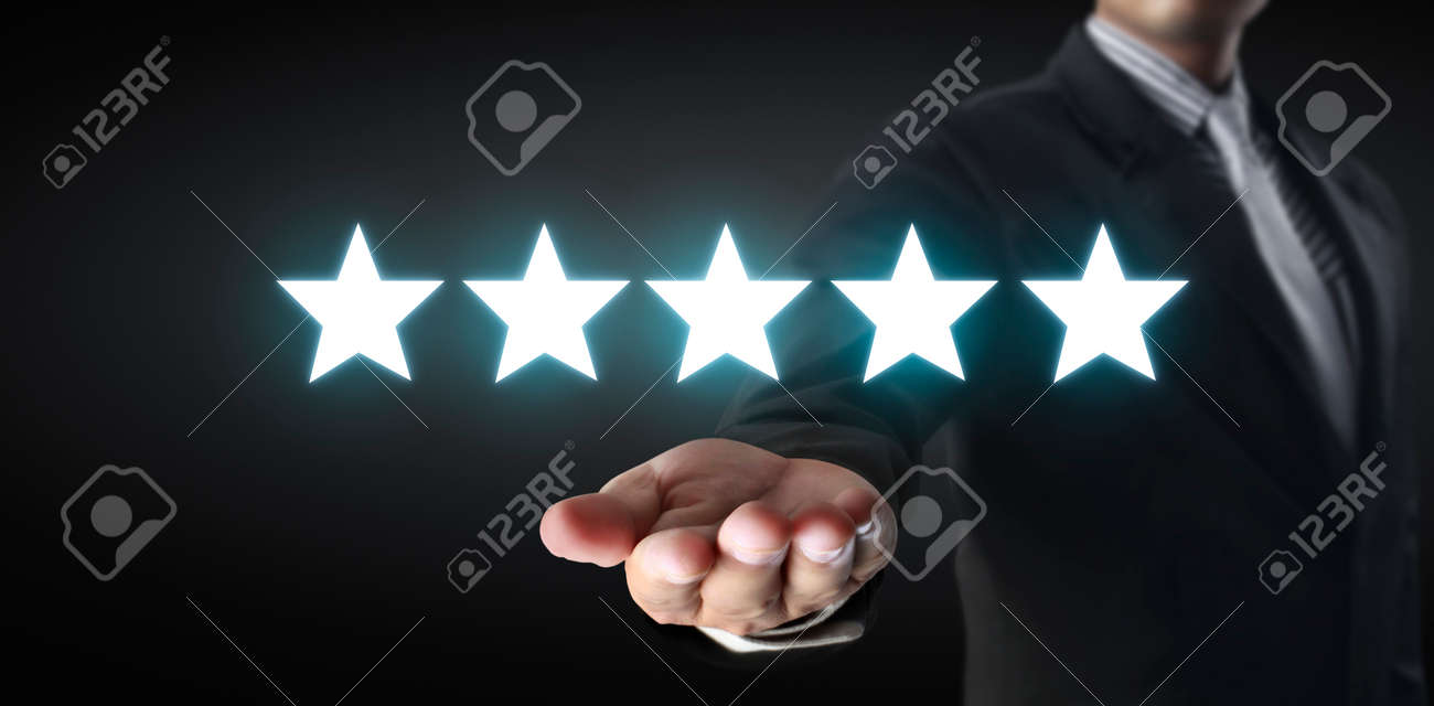 Rise on increasing five stars in human hand, Increase rating evaluation classification concept - 159259300