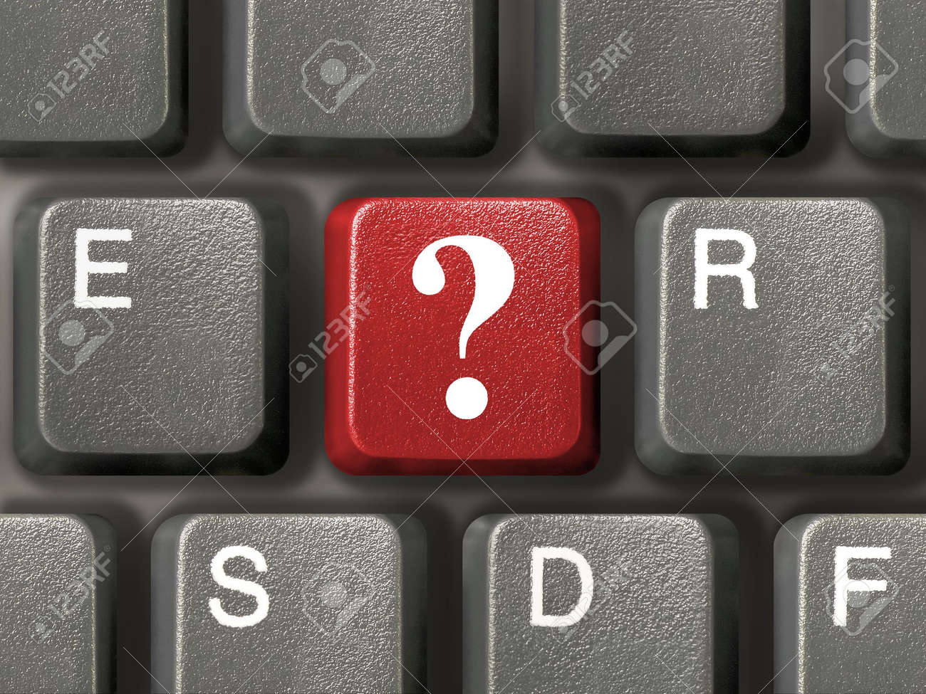 Computer keyboard (close-up) with red question key Stock Photo - 896548