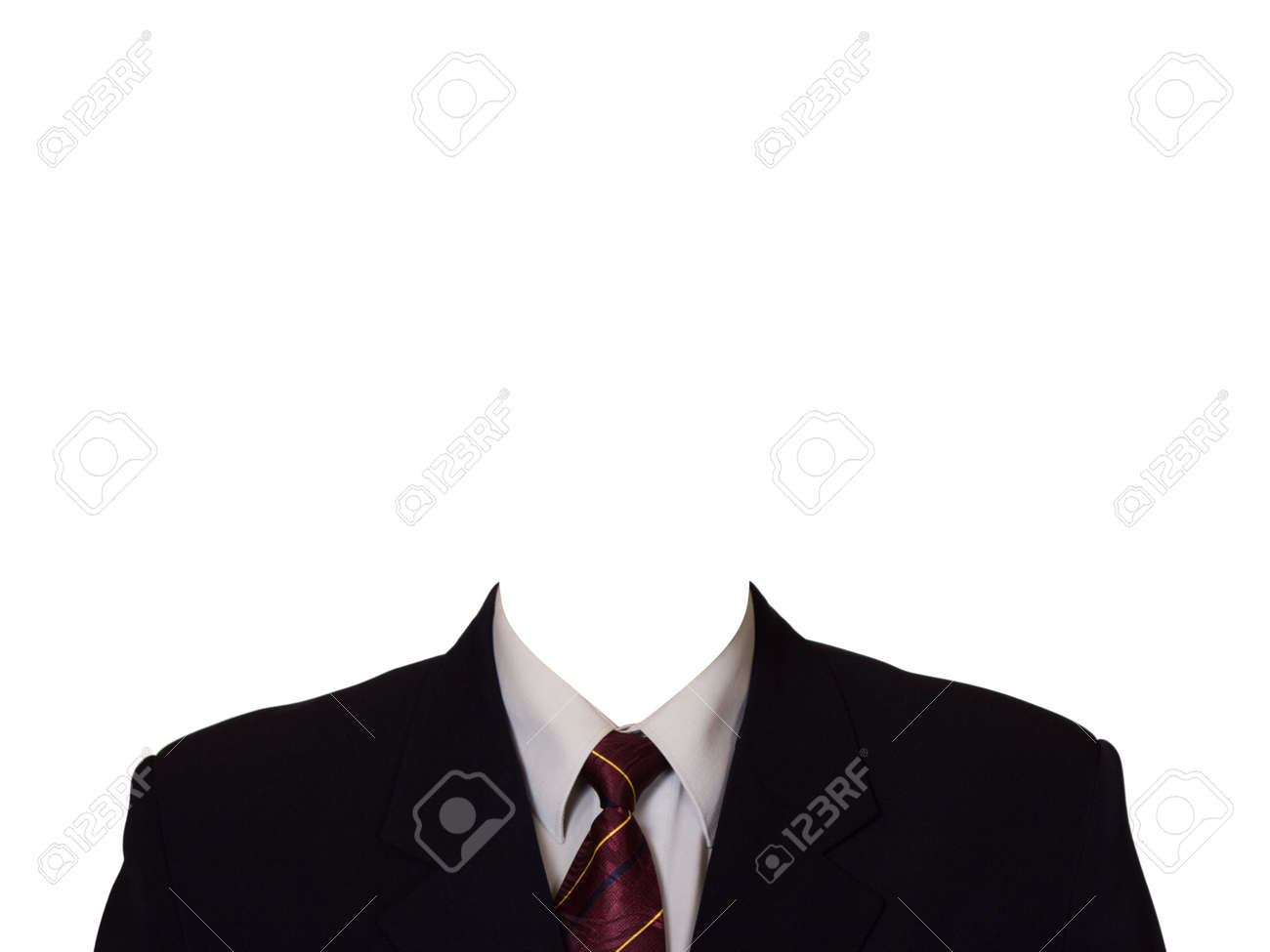 Black suit (no head), isolated on white background