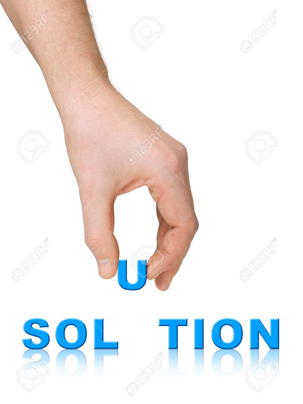Hand and word Solution, business concept, isolated on white background Stock Photo - 2592094