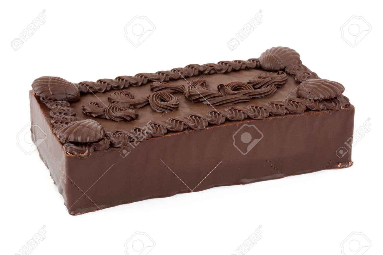 Big Chocolate Cake, Isolated On White Background Stock Photo ...