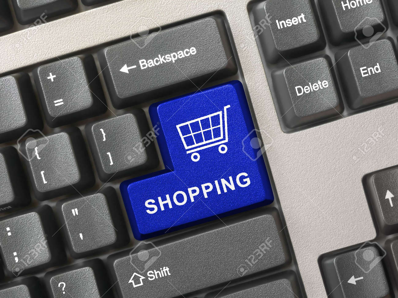 Computer keyboard with blue shopping key, internet concept Stock Photo - 3068475
