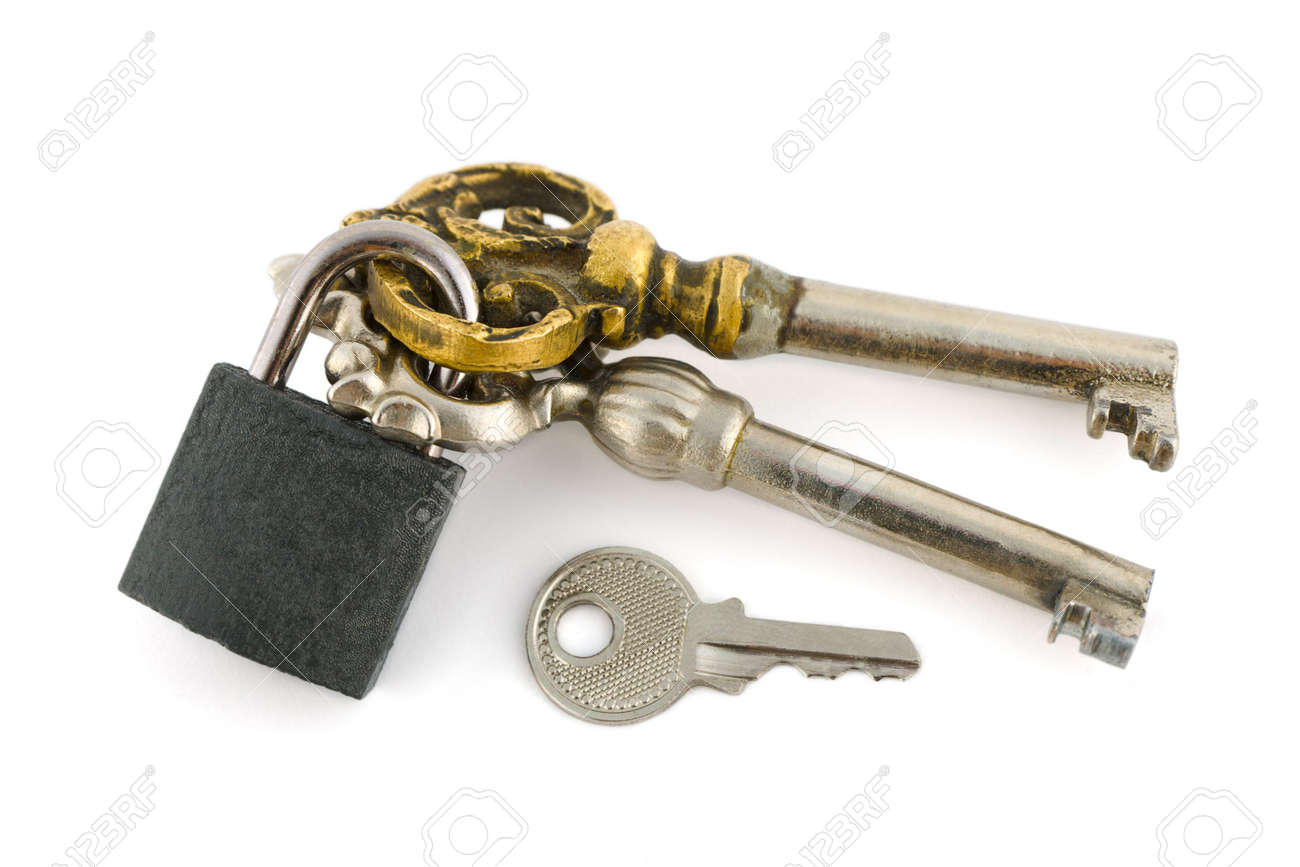 Keys and lock isolated on white background Stock Photo - 3369067