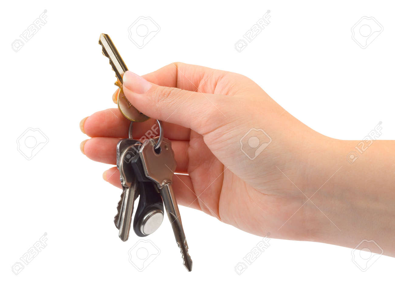 Hand and bunch of keys isolated on white background Stock Photo - 3721460