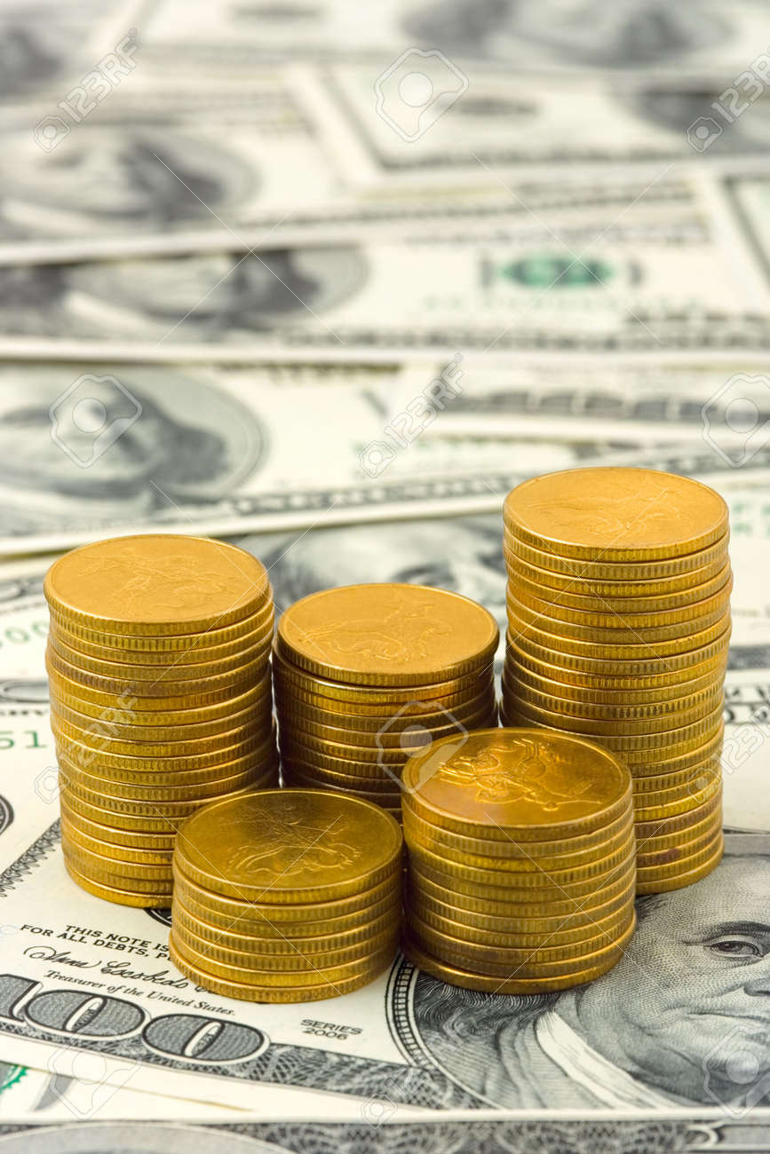Stacks of coins on money, abstract business background Stock Photo - 3776584