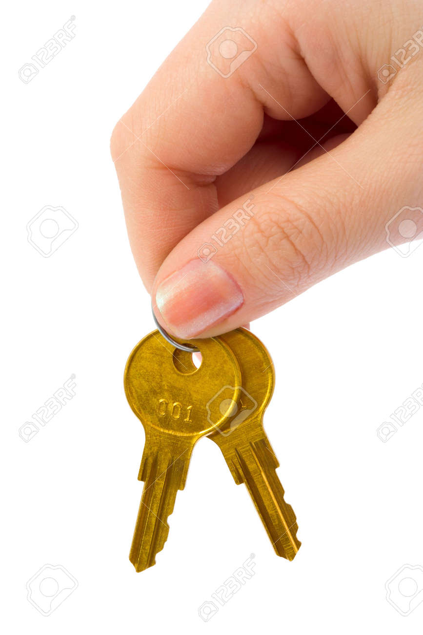 Hand and bunch of keys isolated on white background Stock Photo - 4071622