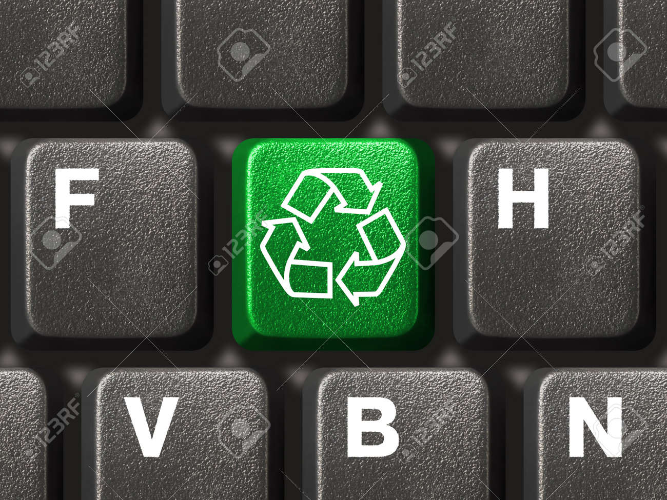 Computer keyboard with recycling symbol, technology concept Stock Photo - 4470897