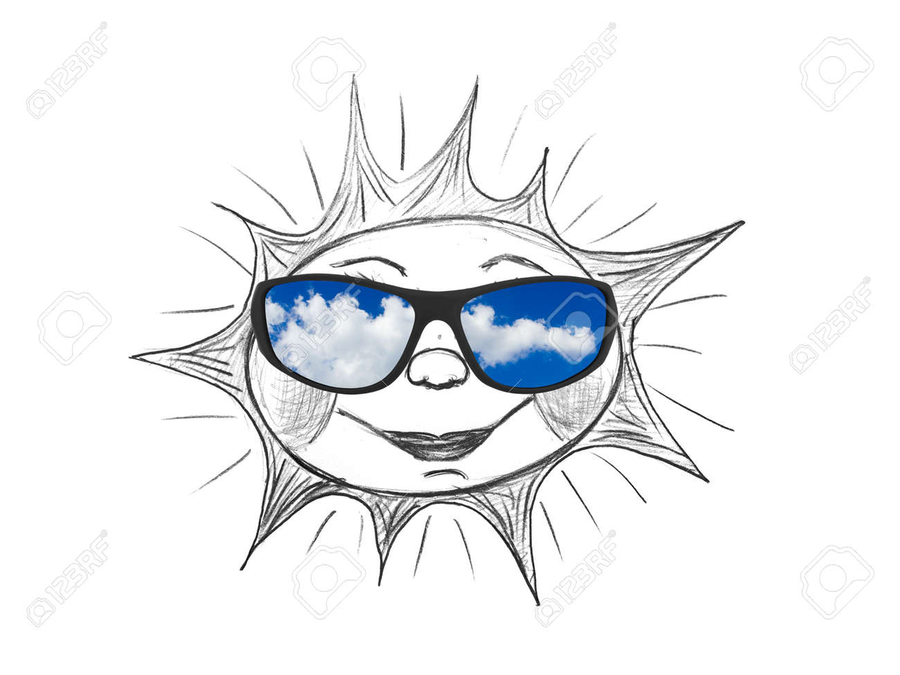 3ef012283ed0 Drawing sun (my artwork) and sunglasses isolated on white background Stock  Photo - 4664639