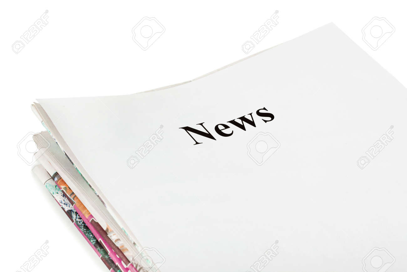 Stack of newspapers News isolated on white background Stock Photo - 5164634