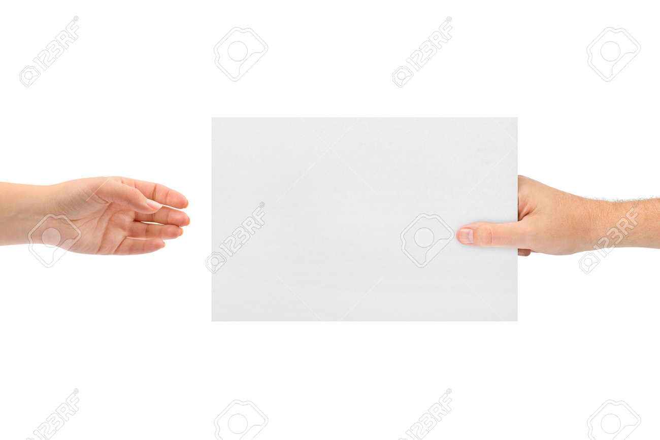 Hands and paper isolated on white background Stock Photo - 5348006
