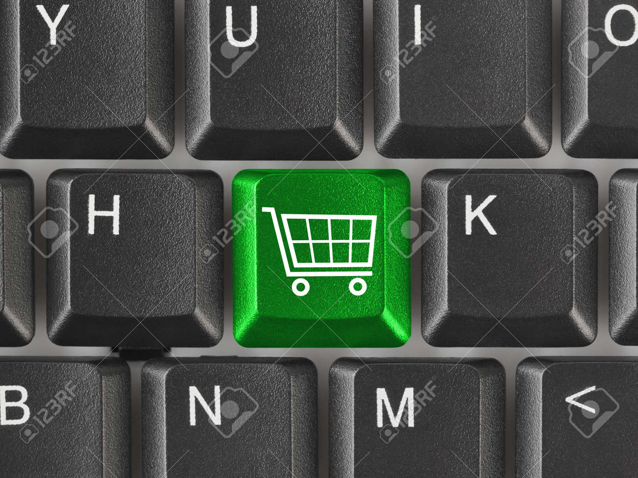 Computer keyboard with shopping key - internet concept Stock Photo - 5563009