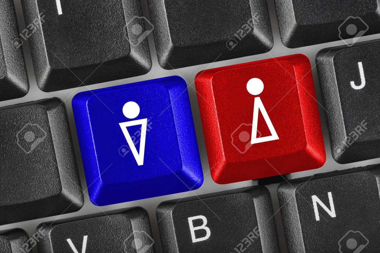 Computer keyboard with man and woman keys Stock Photo - 5563039