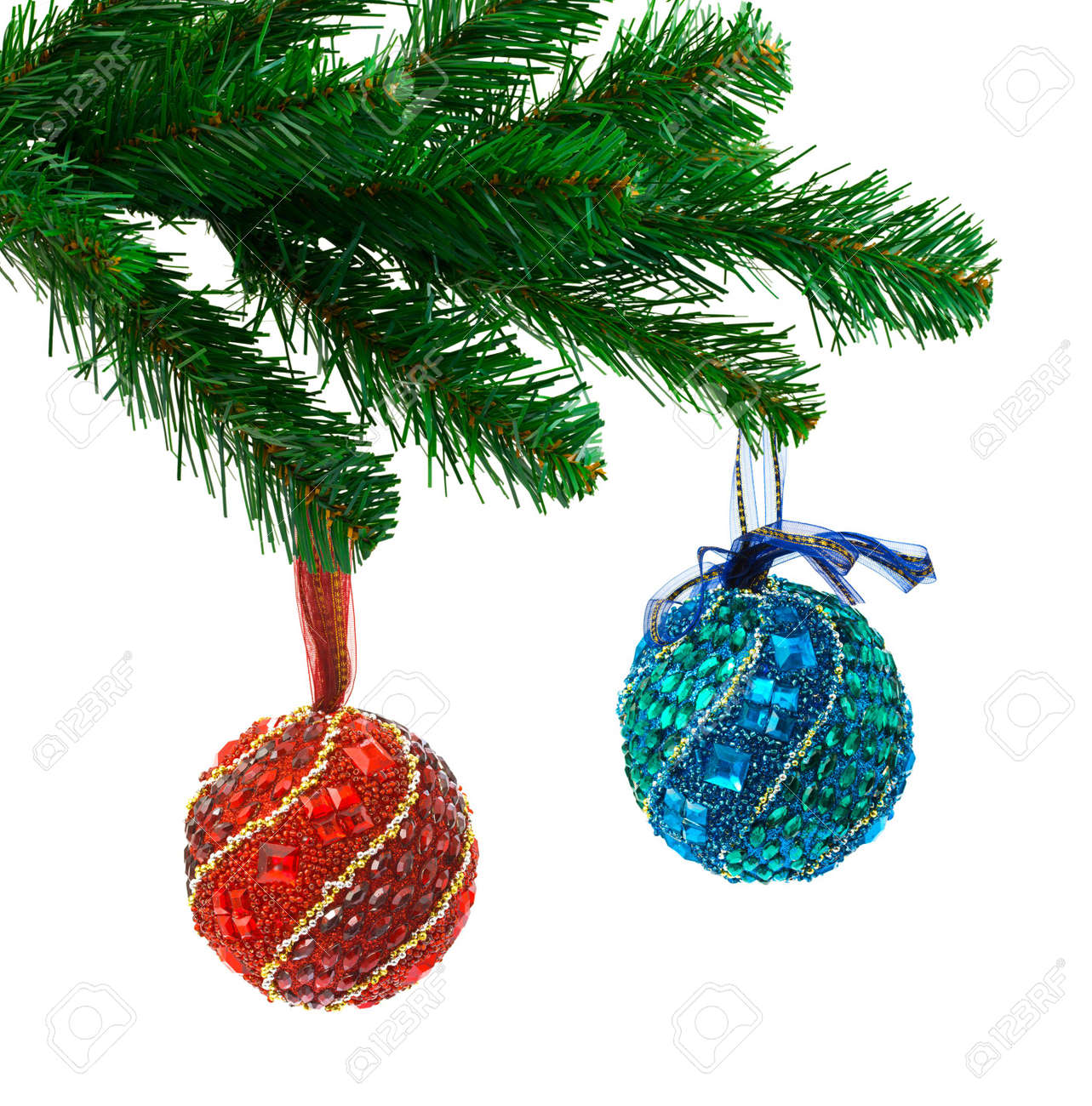 Christmas tree and balls isolated on white background Stock Photo - 5663429