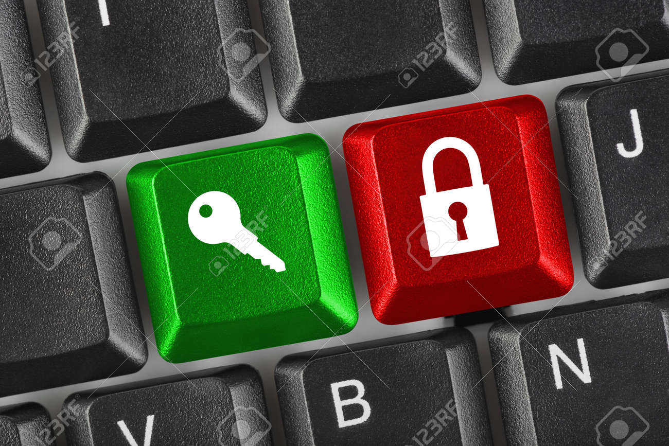 Computer keyboard with two security keys - technology concept Stock Photo - 5684228