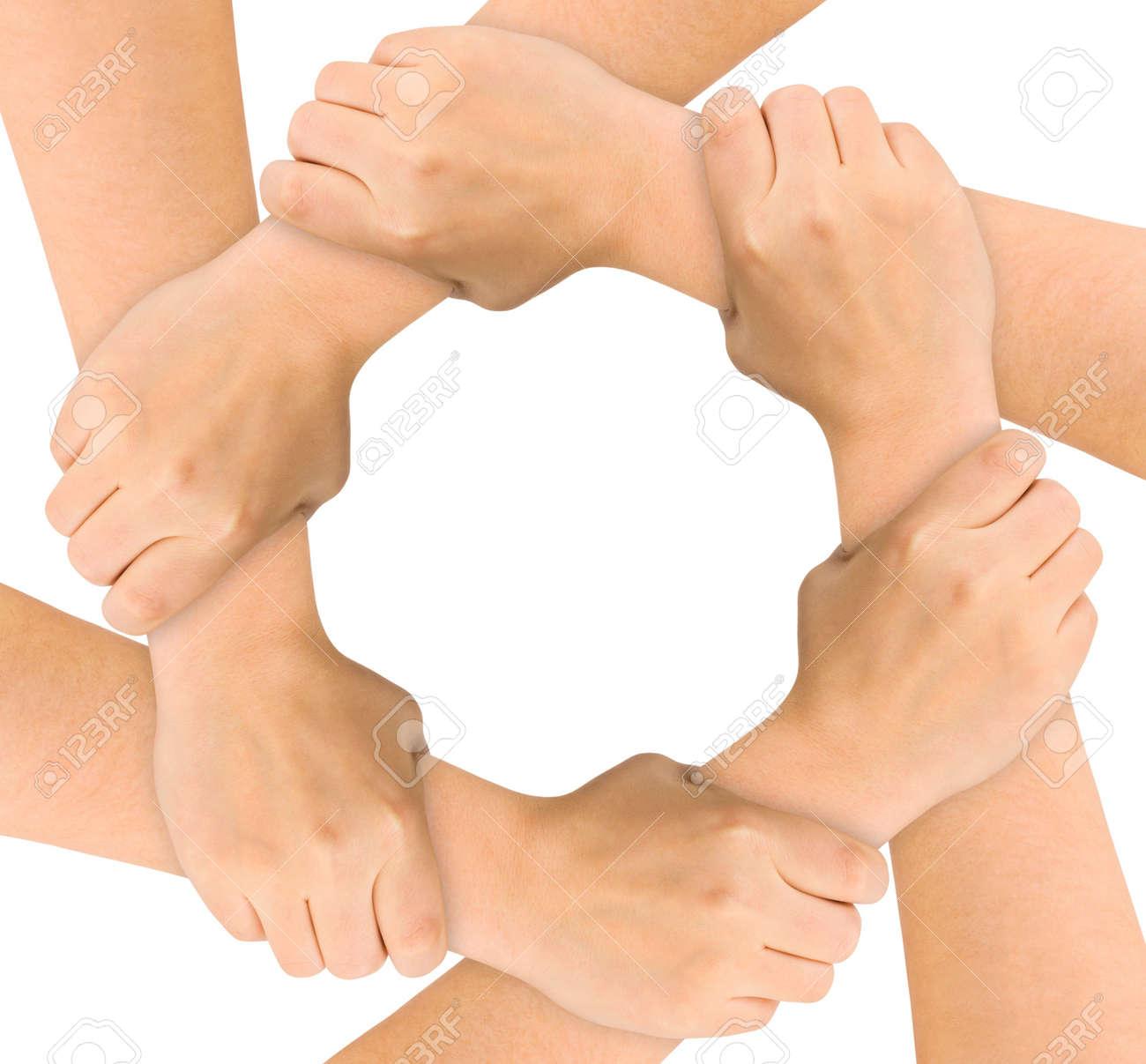 United hands isolated on white background Stock Photo - 6077433
