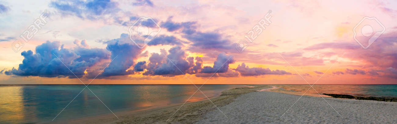 ocean beach and sunset panorama made of 12 frames stock photo 6102526