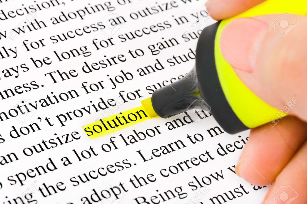 Hand with highlighter and word solution - concept business background Stock Photo - 6365975