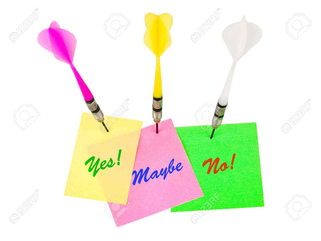 Note papers and darts arrows isolated on white background Stock Photo - 6520941