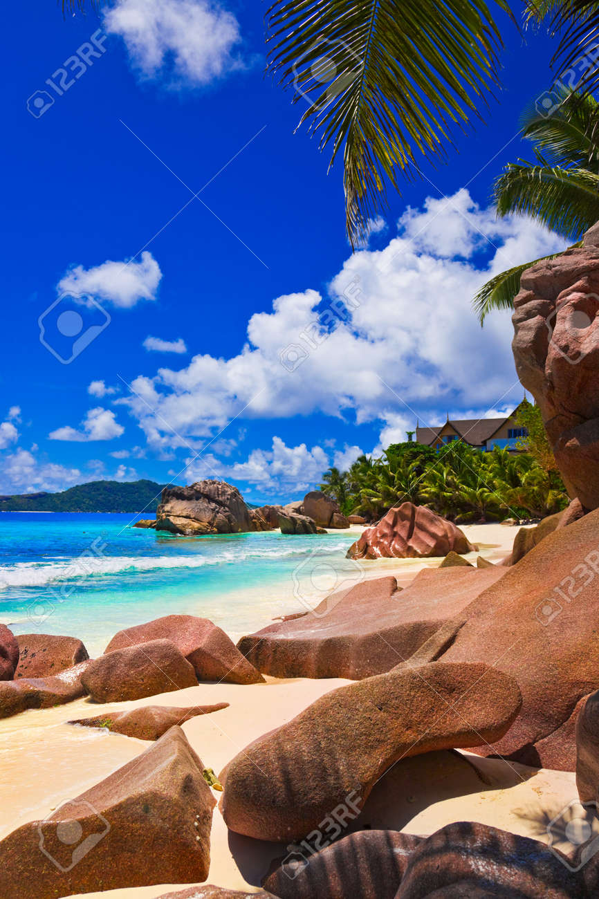 Tropical beach at Seychelles - nature background Stock Photo - 7025497