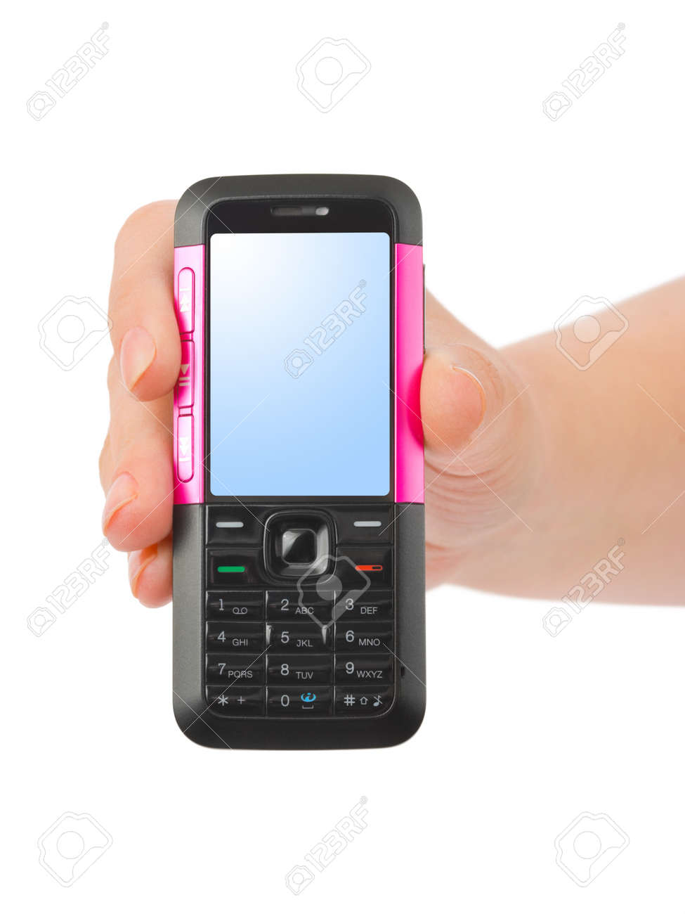 Hand giving mobile phone isolated on white background Stock Photo - 7734630