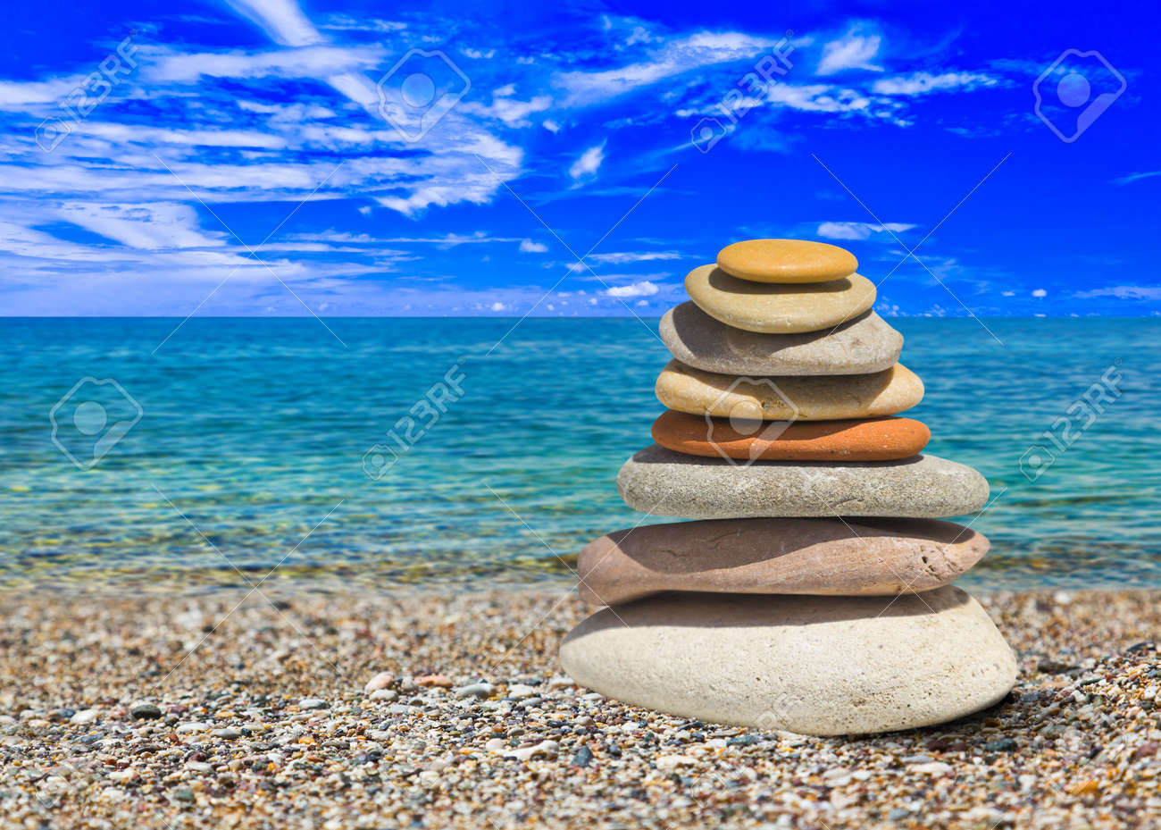 Stack of stones on beach - nature background Stock Photo - 7863064
