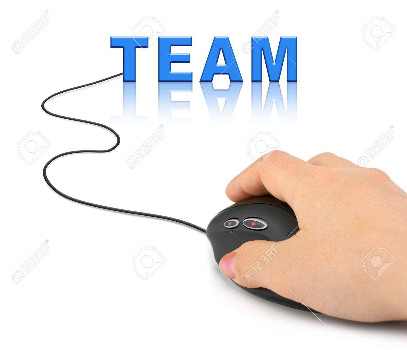 Hand with computer mouse and word Team - business concept Stock Photo - 7967516