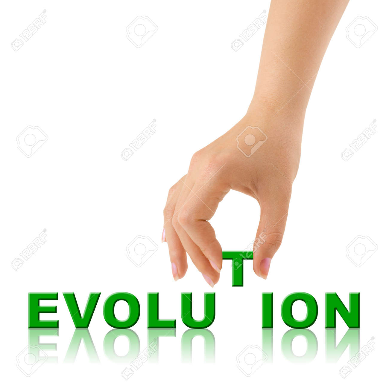 Hand and word Evolution isolated on white background Stock Photo - 8804981