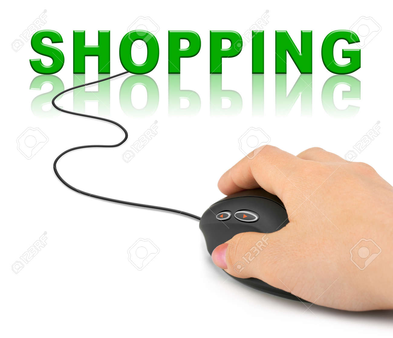 Hand with computer mouse and word Shopping - internet concept Stock Photo - 8804993