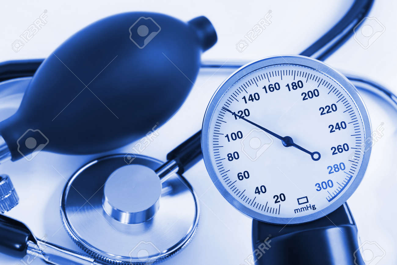 Scale of pressure and stethoscope - abstract medical background Stock Photo - 8805192