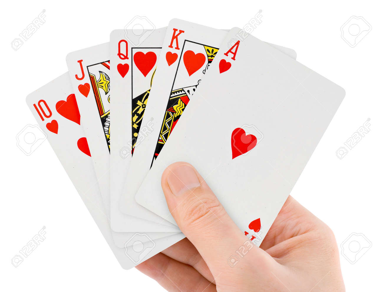 Playing cards in hand isolated on white background Stock Photo - 9681763