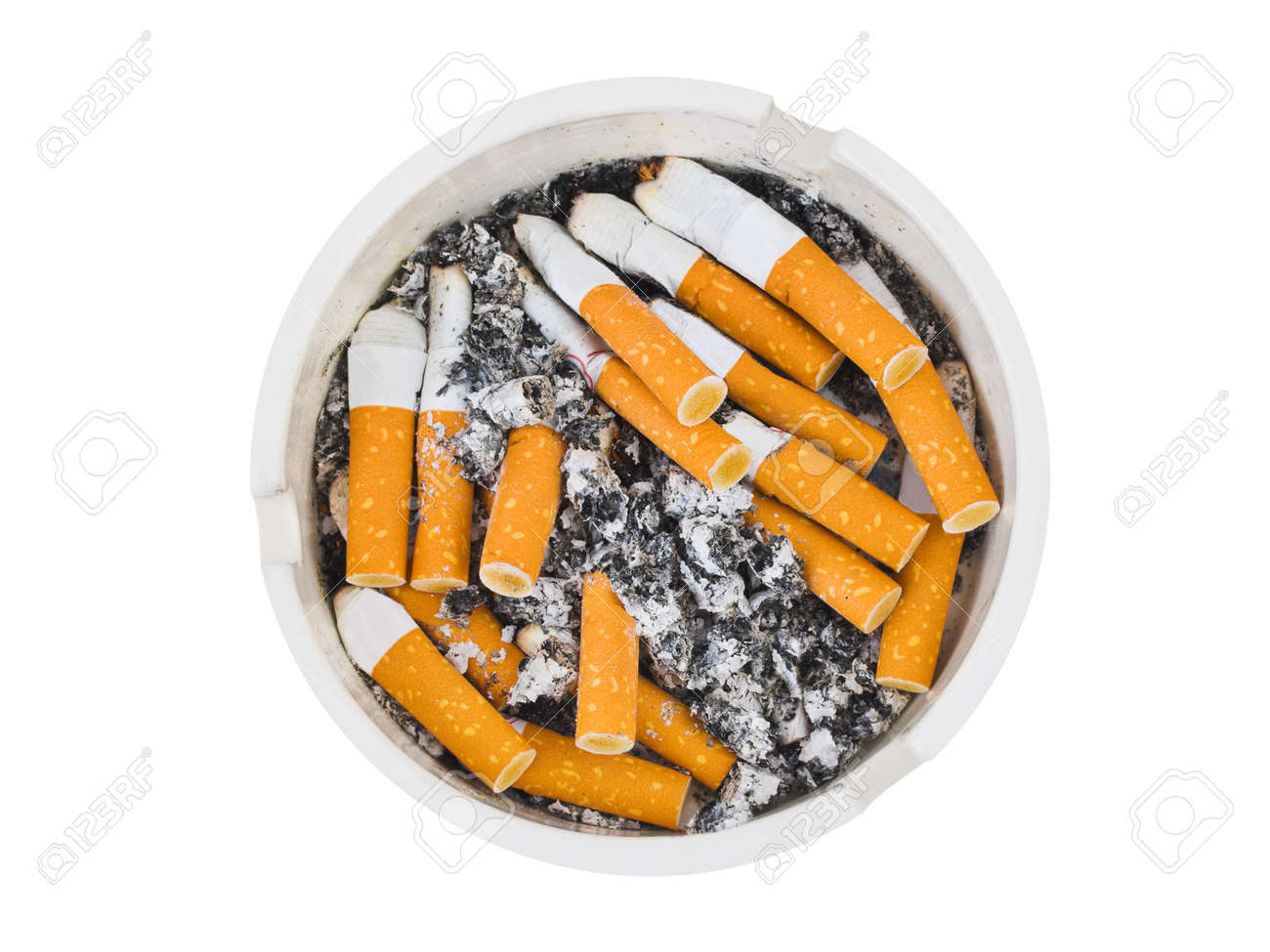 Ashtray and cigarettes isolated on white background - 9856217