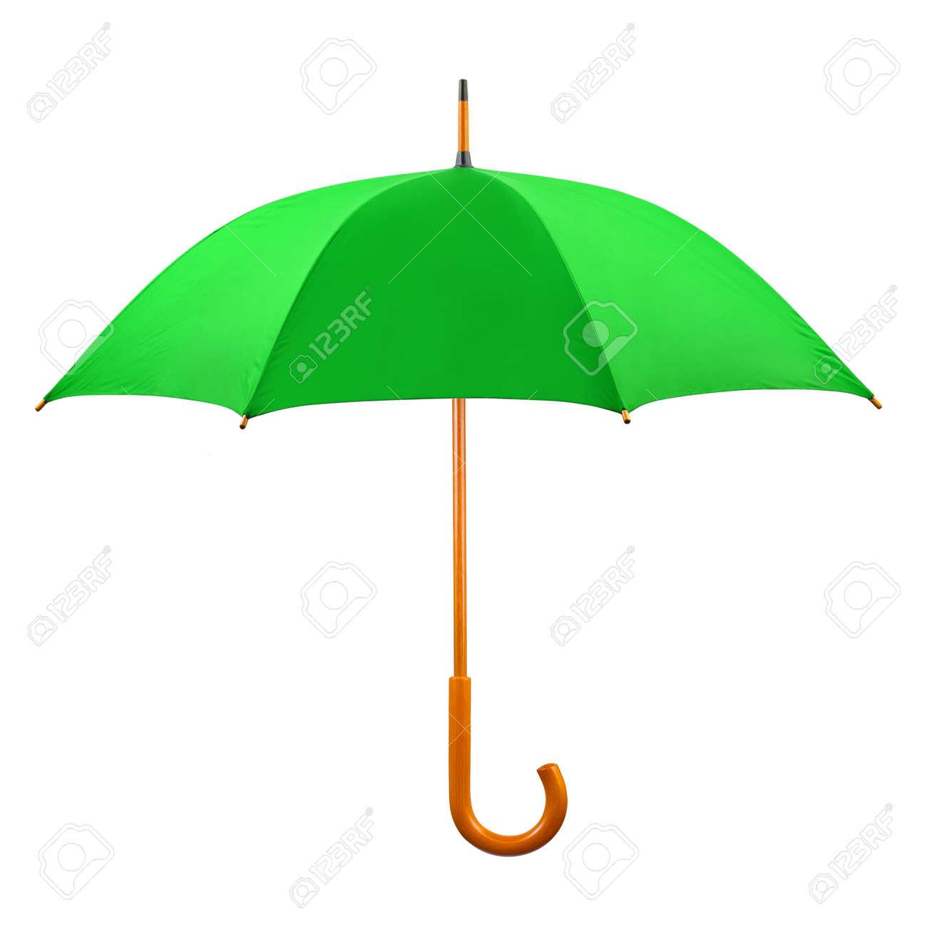 último estilo de 2019 primer nivel moderno y elegante en moda Abrió el paraguas verde aisladas sobre fondo blanco