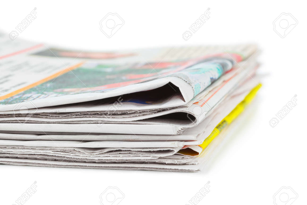 Stack of newspapers isolated on white background Stock Photo - 10078615