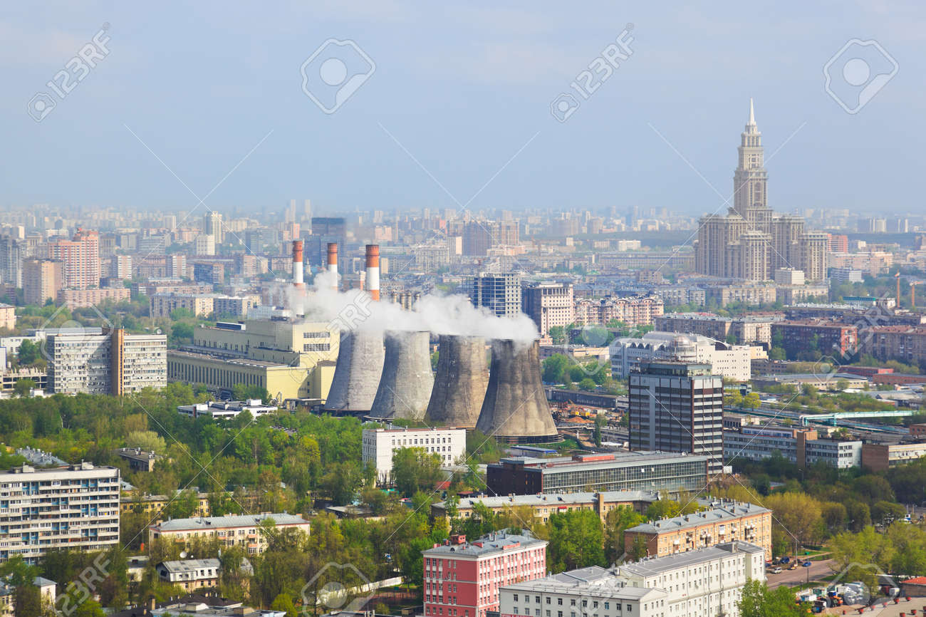 Power station in city Moscow, Russia - aerial view Stock Photo - 10306131