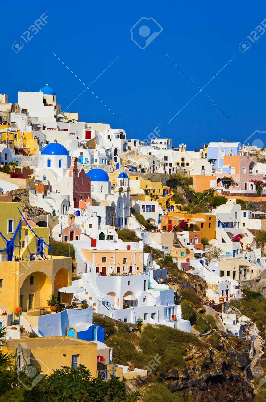 santorini vista oia grecia fondo de vacaciones foto de archivo