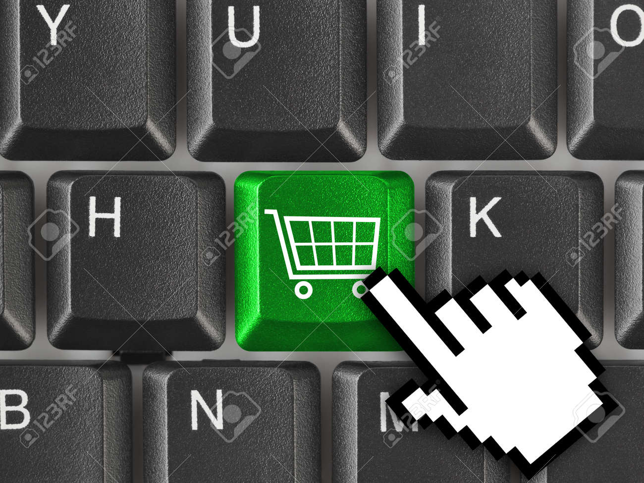 Computer keyboard with shopping key - internet concept Stock Photo - 11979083