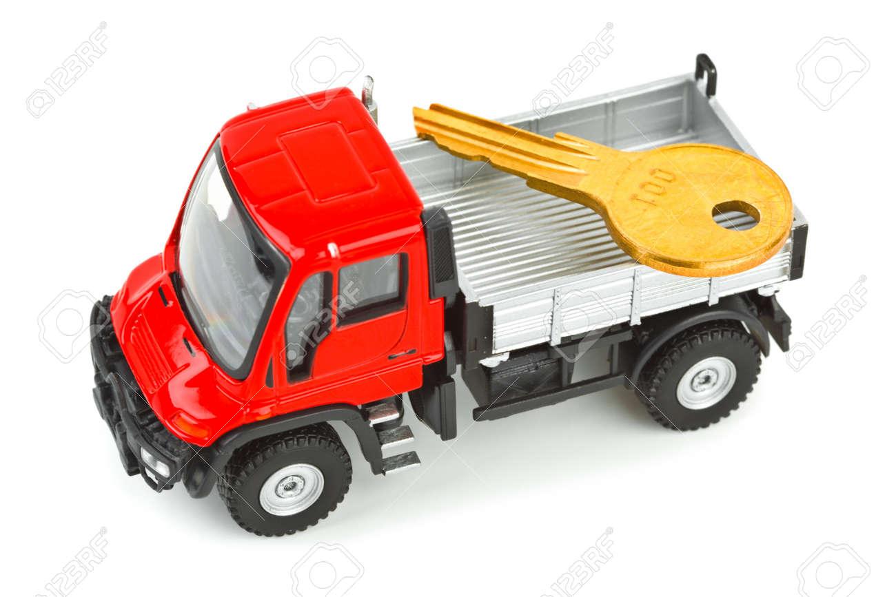 La De Juguete Coche Sobre Camión Blanco Llave Fondo Aisladas Con N0XOwPkn8