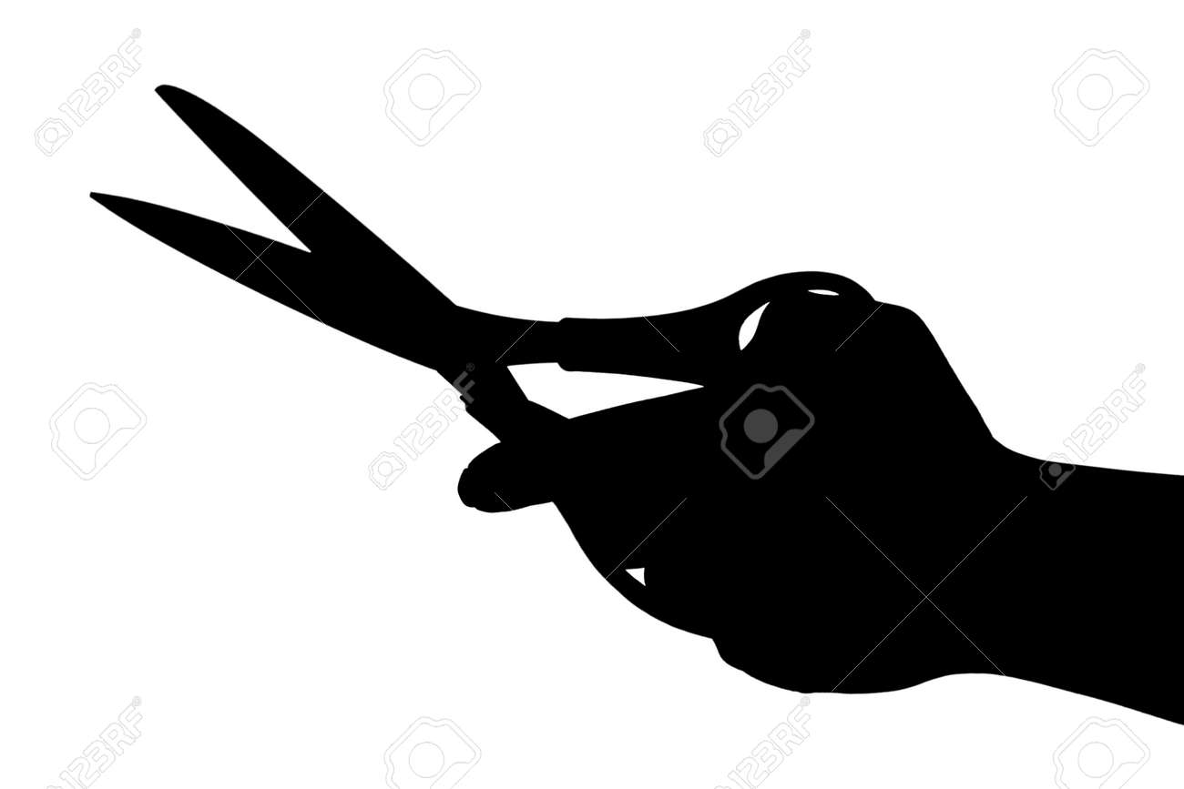 Scissors in hand isolated on white background Stock Photo - 12089414