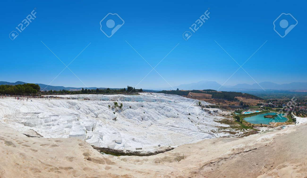 Travertine pools and terraces - Pamukkale Turkey panorama Stock Photo - 12322084