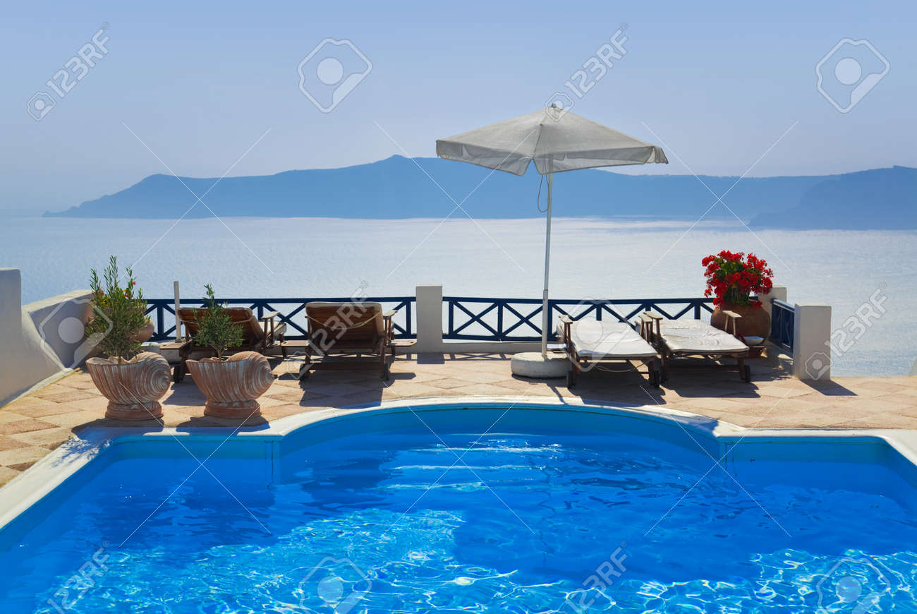Water pool at Santorini, Greece - vacation background Stock Photo - 12279814