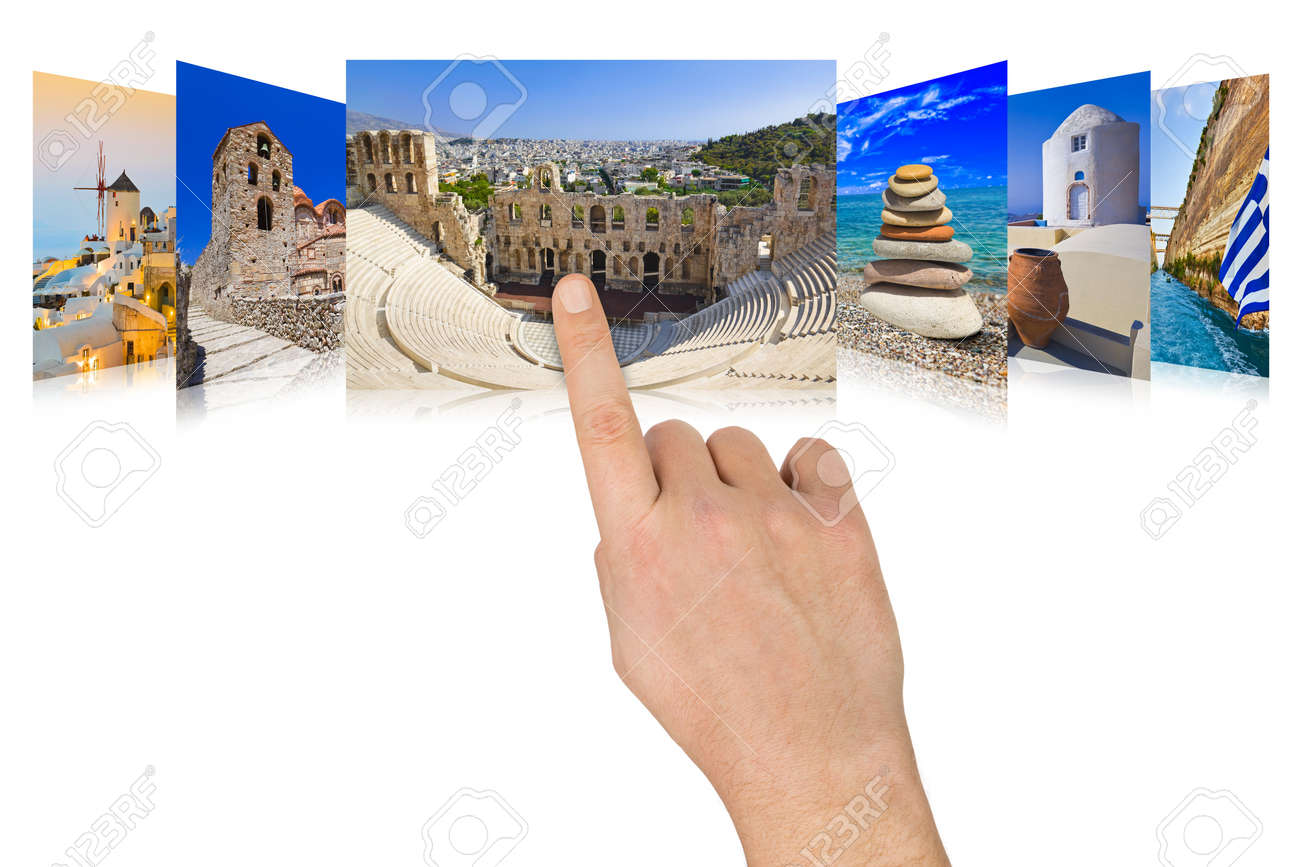 Hand scrolling Greece travel images - nature and tourism concept  my photos Stock Photo - 13058406