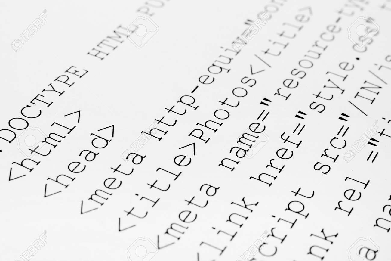 Background image html code - Printed Internet Html Code Computer Technology Background Stock Photo 12907048