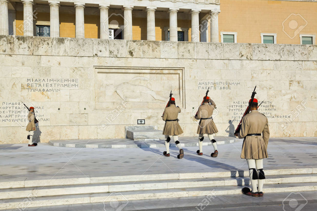 Changing guards near parliament at Athens, Greece Stock Photo - 13627373