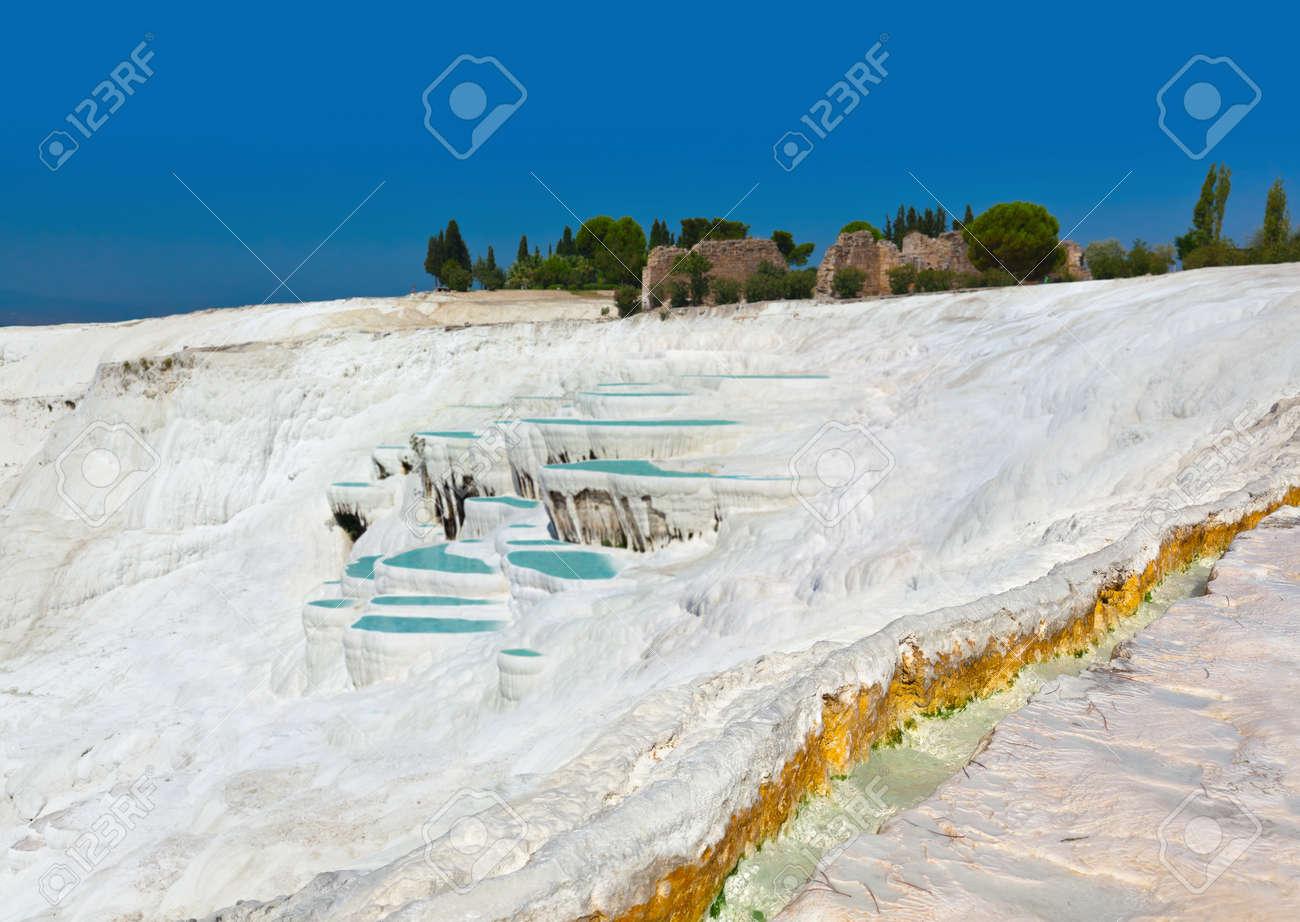 Travertine pools and terraces - Pamukkale Turkey Stock Photo - 15388206