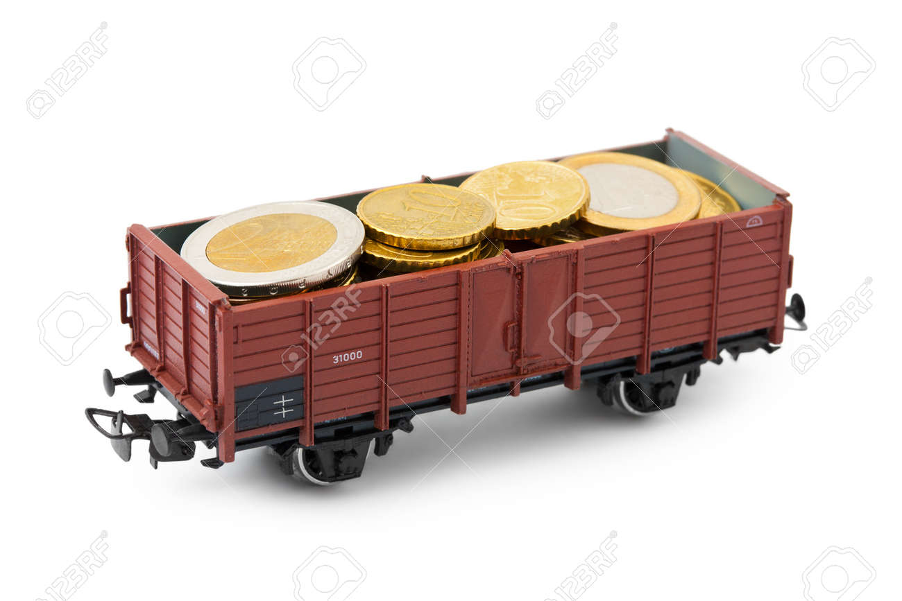 Train with money isolated on white background Stock Photo - 15552005