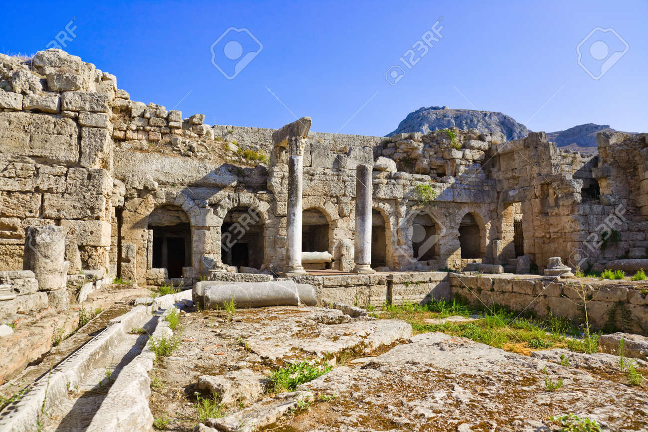 Ruins In Corinth, Greece - Archaeology Background Stock Photo ...